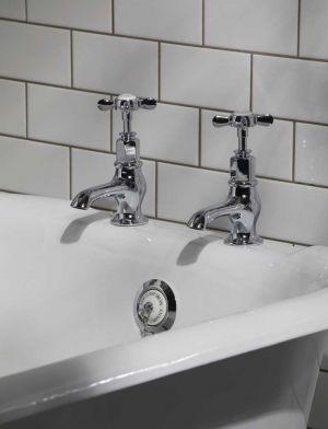 Aysgarth X Top 3/4 BSP Bath Pillar Taps Chrome