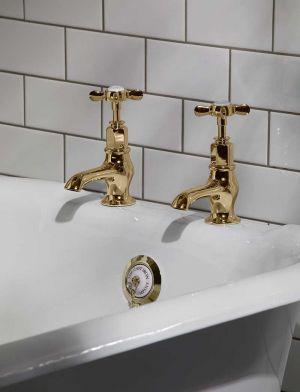 Aysgarth X Top 3/4 BSP Bath Pillar Taps Polished Brass