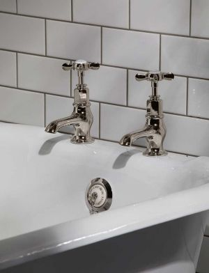 Aysgarth X Top 3/4 BSP Bath Pillar Taps Polished Nickel