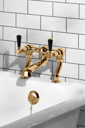 Linton Bath Filler Tap Black Lever Polished Brass 3/4BSP