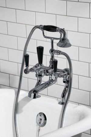 Linton Bath Shower Mixer Black Lever Chrome 3/4BSP