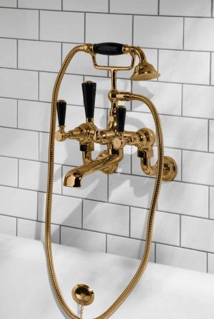 Linton Bath Shower Mixer Wall Mounted Black Lever Polished Brass 3/4BSP