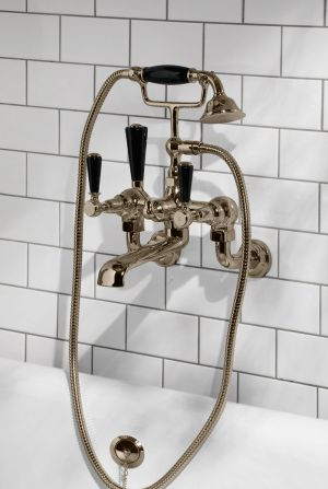 Linton Bath Shower Mixer Wall Mounted Black Lever Polished Nickel 3/4BSP