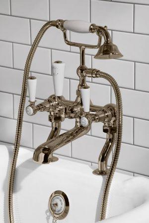 Linton Bath Shower Mixer White Lever Nickel 3/4BSP