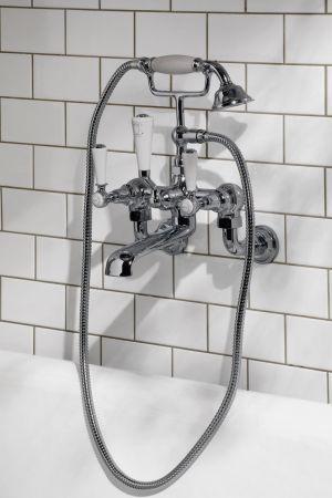 Linton Bath Shower Mixer Wall Mounted White Lever Chrome 3/4BSP