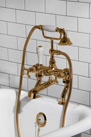 Aysgarth Bath Shower Mixer X Top Polished Brass 3/4BSP