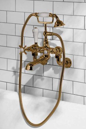 Aysgarth Bath Shower Mixer Wall Mounted X Top Polished Brass 3/4BSP