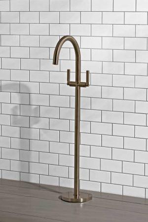 Senska - Bath Filler - Floor Mounted - Metal Lever - Brushed Nickel