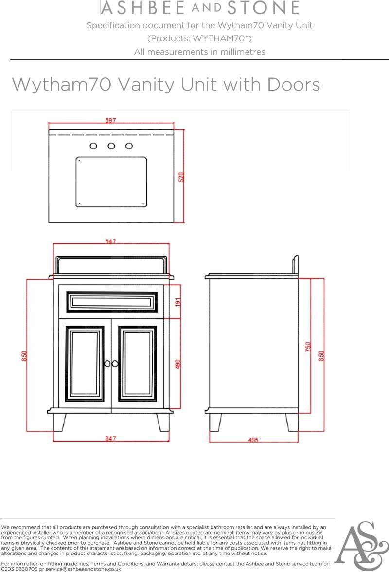 Wytham Single Vanity Unit with Doors