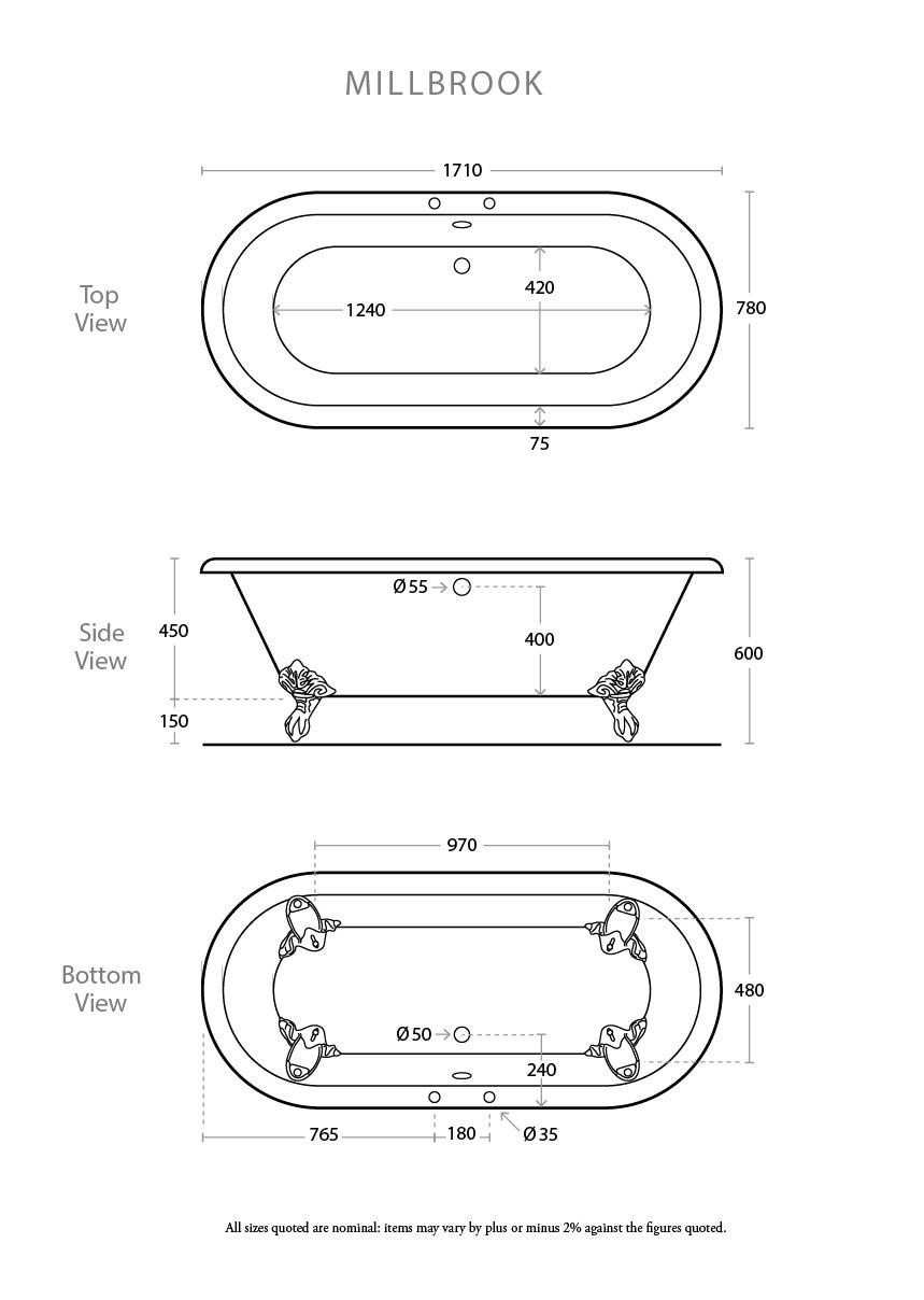 Petite Millbrook Bath Dimensions