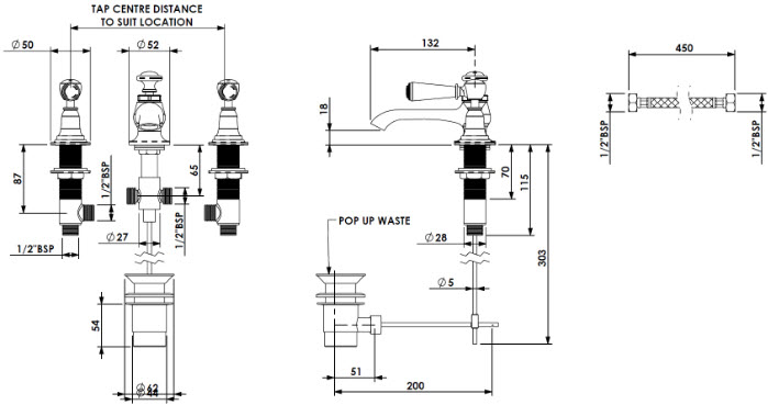 Specification drawing for - CIBC-3HBM-W-PN