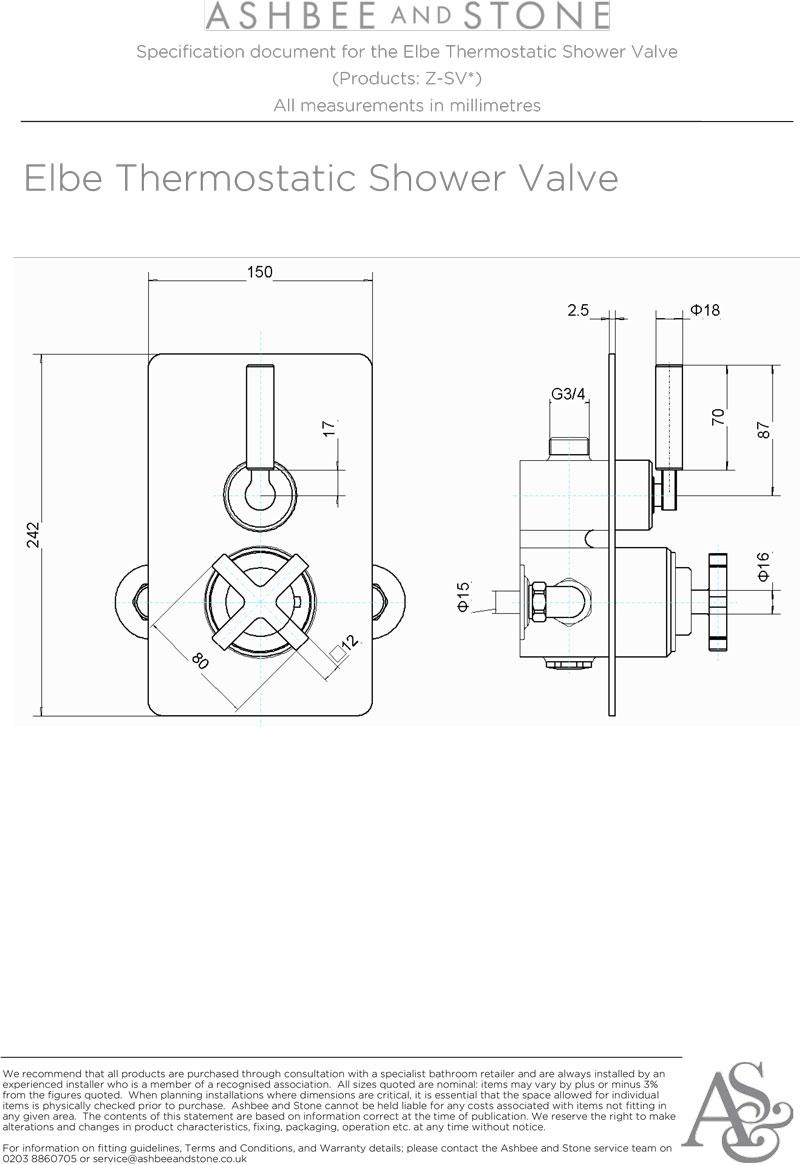 Elbe Range Thermostatic Shower Valve
